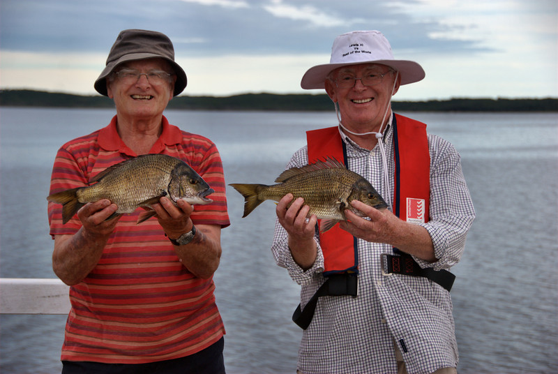 Don Cunningham & Phil Byrne showing off their Bream caught on the new Bemm River fishing platform