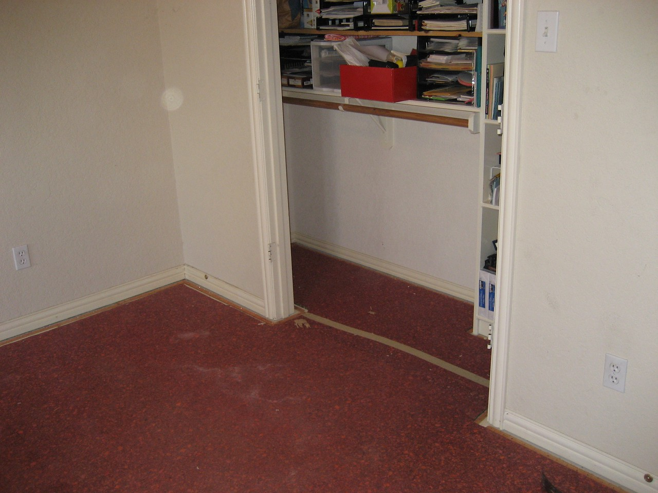 Room with carpet pad.