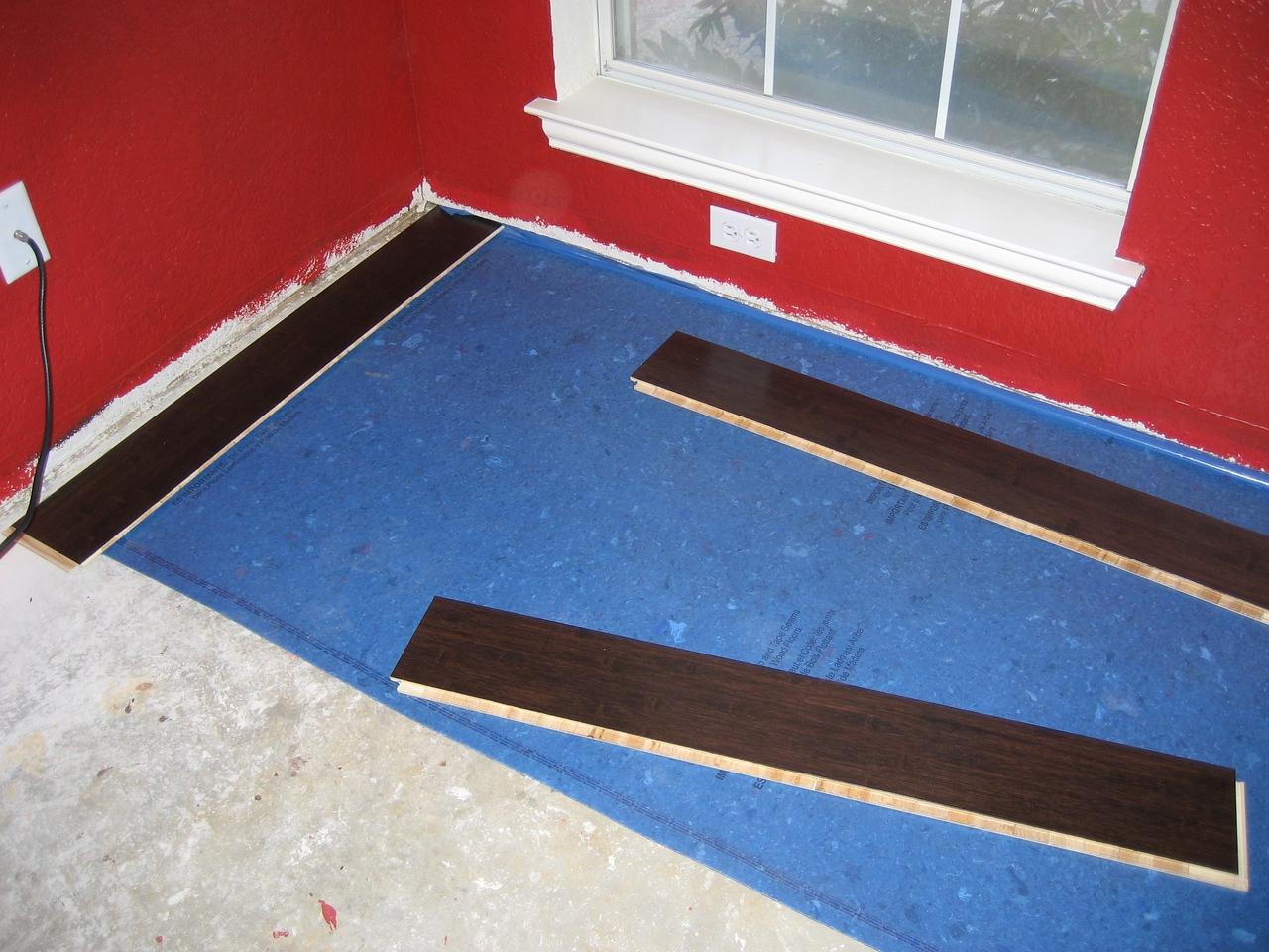 First row of padding, preparing to start flooring.