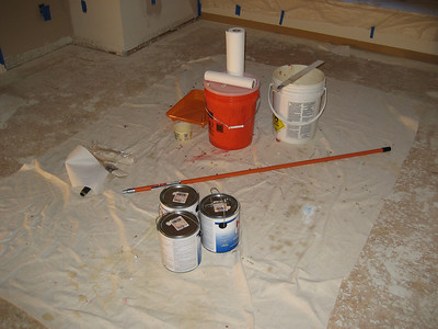 Painting supplies and layout.