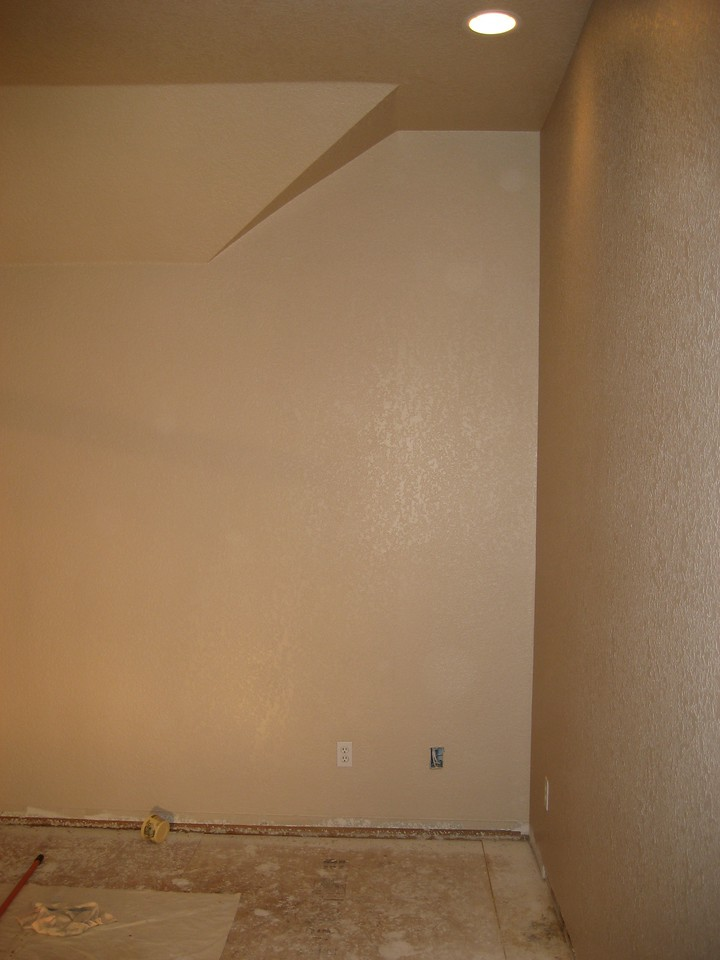 Various views of room after priming.Room with final coat applied. Eggshell finish.