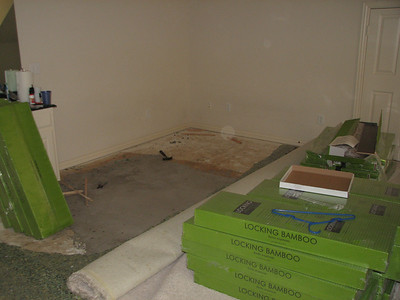 Removing carpet, limited space so we have to move things around.