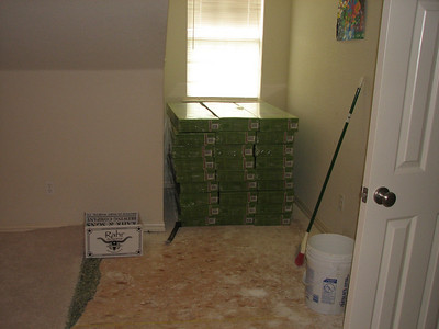 Moved flooring so we can get the rest of the carpet out.