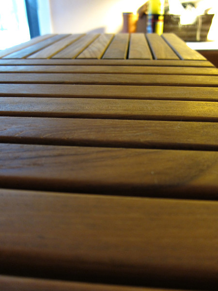 'Le Click' oiled, teak tile detail.
