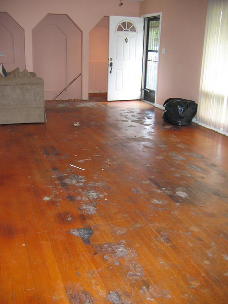 before:  Carpet is pulled up, waiting on stripping