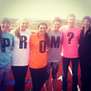 From left to right, Jantzen Michael, Madi Woelfer, Haley Fatheree, Claire Niebrugge, Boyd Rinehart assist in a promposal.