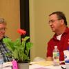 Fr. Mark Fortner talks with Fr Bill Pitcavage (left)
