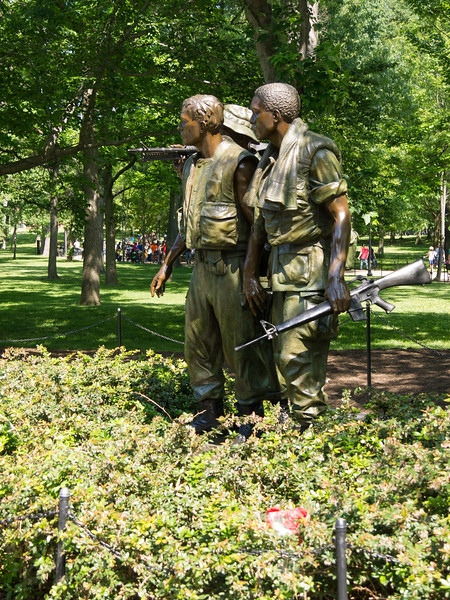 Three soldiers - looking at the memorial wall