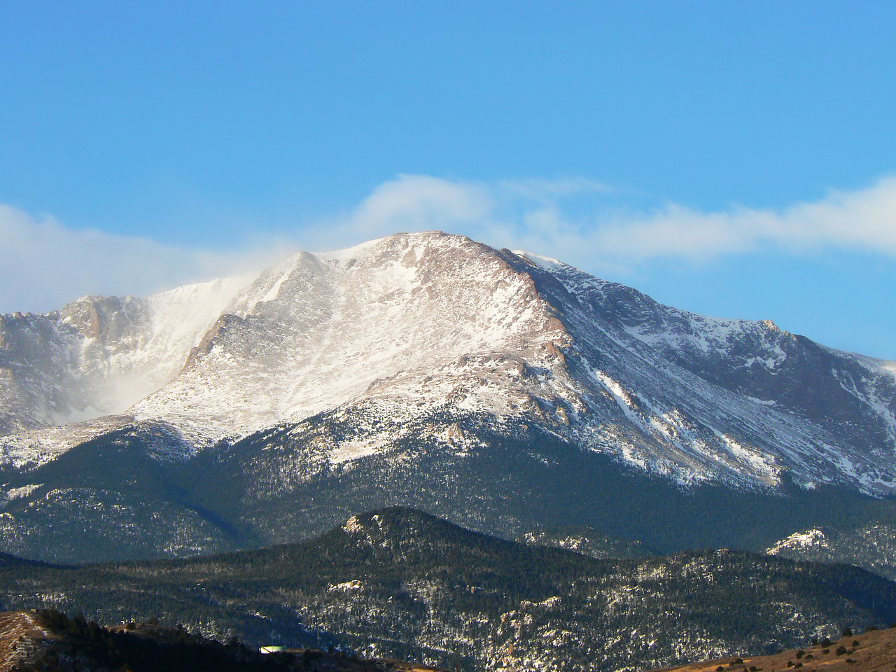 Pikes Peak seen from near Garden of the Gods Road at Centennial Rd, Colorodo Springs