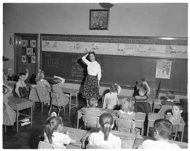 Experiential Learning - A student teacher leading a class at the Laboratory School in 1959