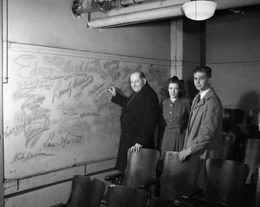 Signature Wall -  Sigmund Romberg signs a wall in the theater in the Laboratory Training School  - Copy