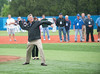 Bob Warn throws pitch Bob Warn Field dedication