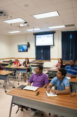 Photos of distance education classroom in dreiser Hall.