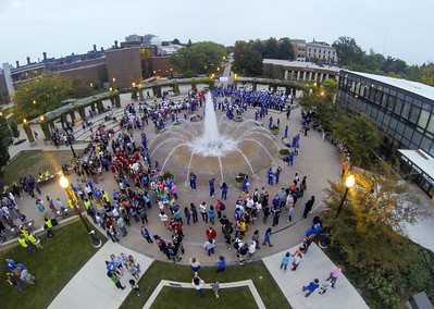 Images taken with drone before start of the Torchlight Parade at Homecoming 2013
