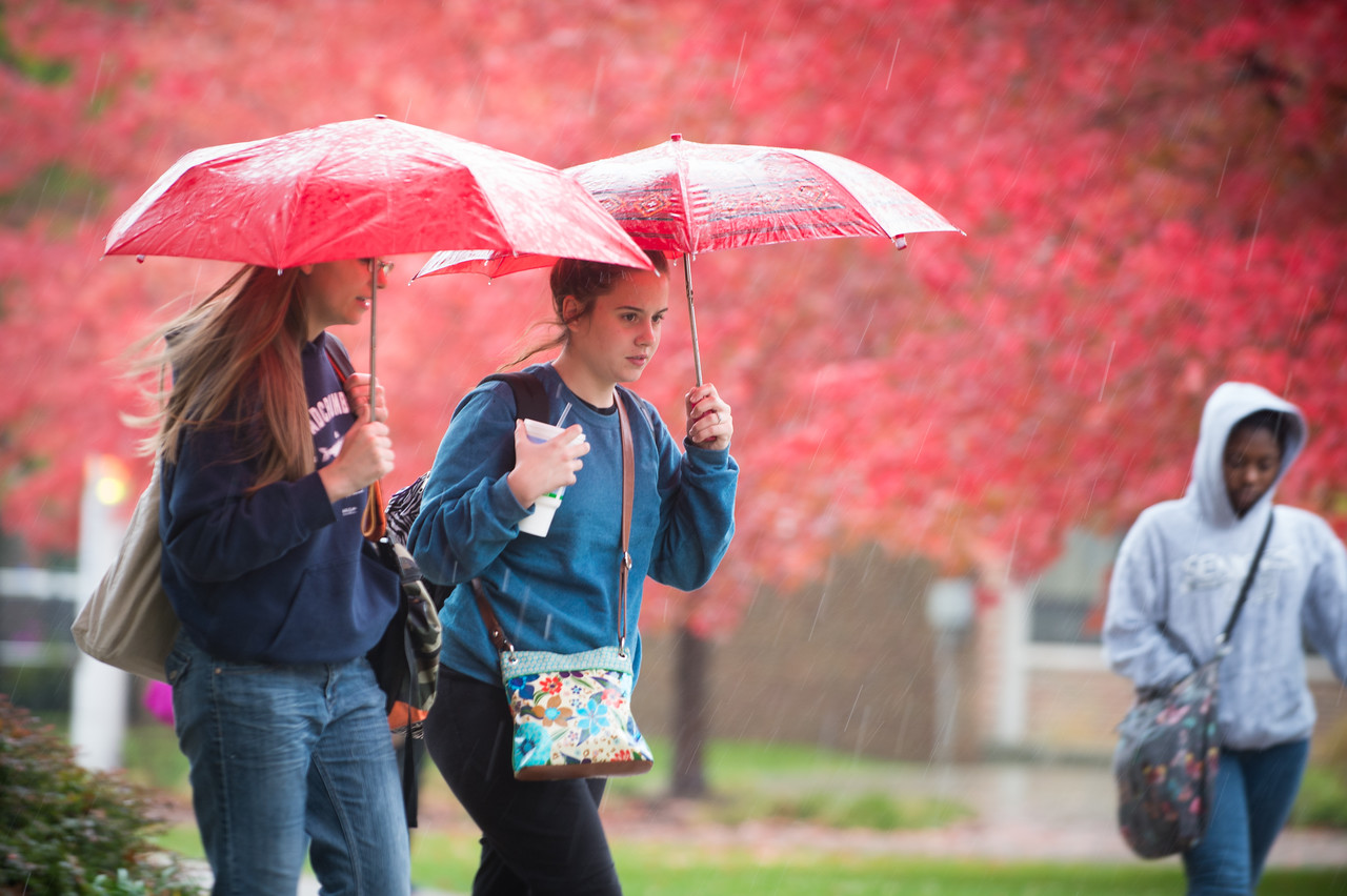 Rain showers on campus with fall colors