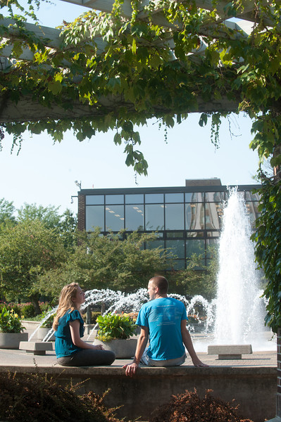 Welcome Center and fountain in Dede Plaza