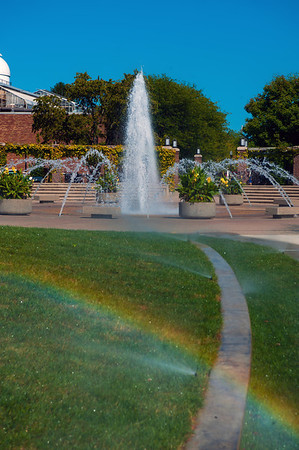 Photos of Dede Plaza and Fountain in the fall