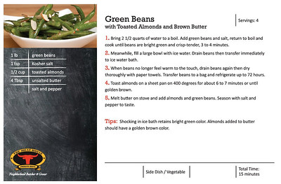 The Meat House recipe for Green Beans w/ Toasted Almonds and Brown Butter