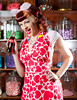 This image was published in The Cats Meow Feb. 2015 issue. Aprons provided by Doll Me Up Darling, Model Miss Tracy Anne, Location Five And Dime Candy Store