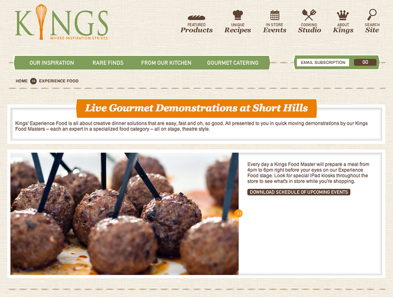 Meatballs on Kings Food Markets website