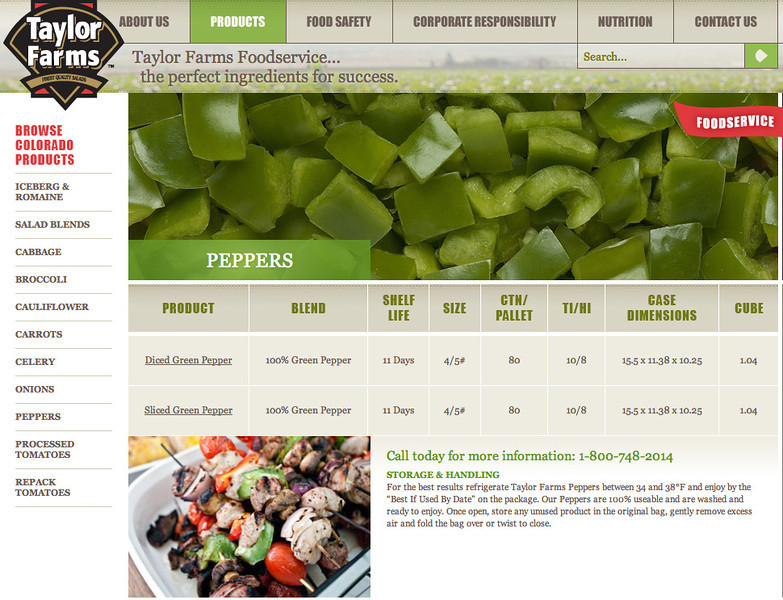 Skewers on Taylor Farms Website