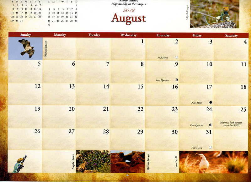 """Grid"" photo of a rabbit published in 2012 Colorado National Monument calendar, published by the Colorado National Monument Association"