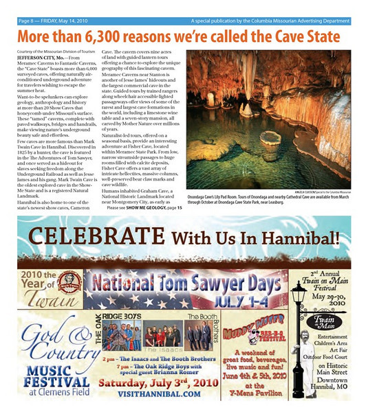 "Published in ""Show Me State of Mind"" special travel/tourism supplement to Missouri Columbian newspaper, May 2010"