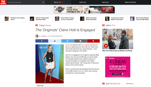 Claire Holt on TVGuide.com