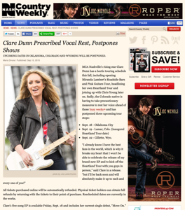 Clare Dunn on CountryWeekly.com