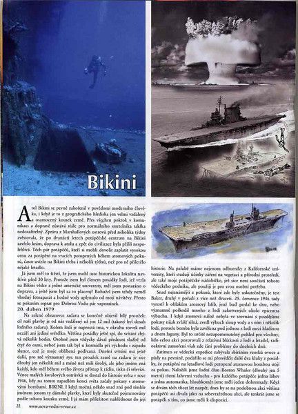 """Czech Dive magazine """"Dobra Voda"""", Fall 2008 issue.<br /> Article and photos about diving Bikini Atoll."""