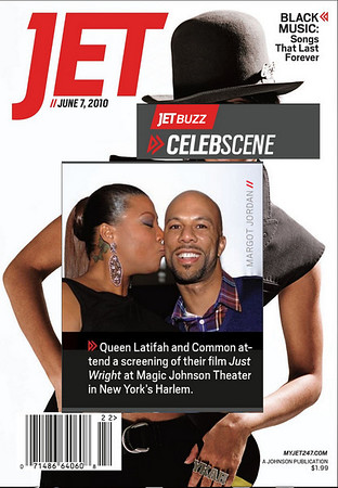 "Queen Latifah Shows her love for Common at The Magic Johnson Theater in Harlem, NYC where a screening of their movie ""Just Wright"" took place PHOTO: Margot Jordan"