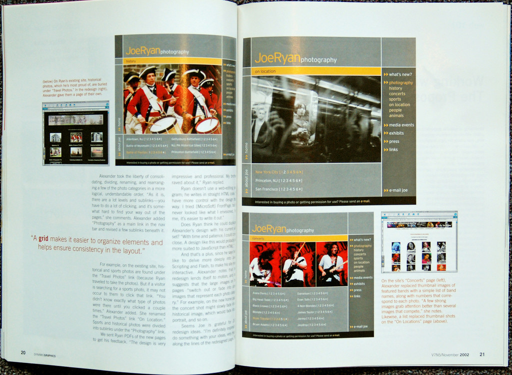DYNAMICS GRAPHICS magazine<br /> article on restructuring my old website<br /> November 2002