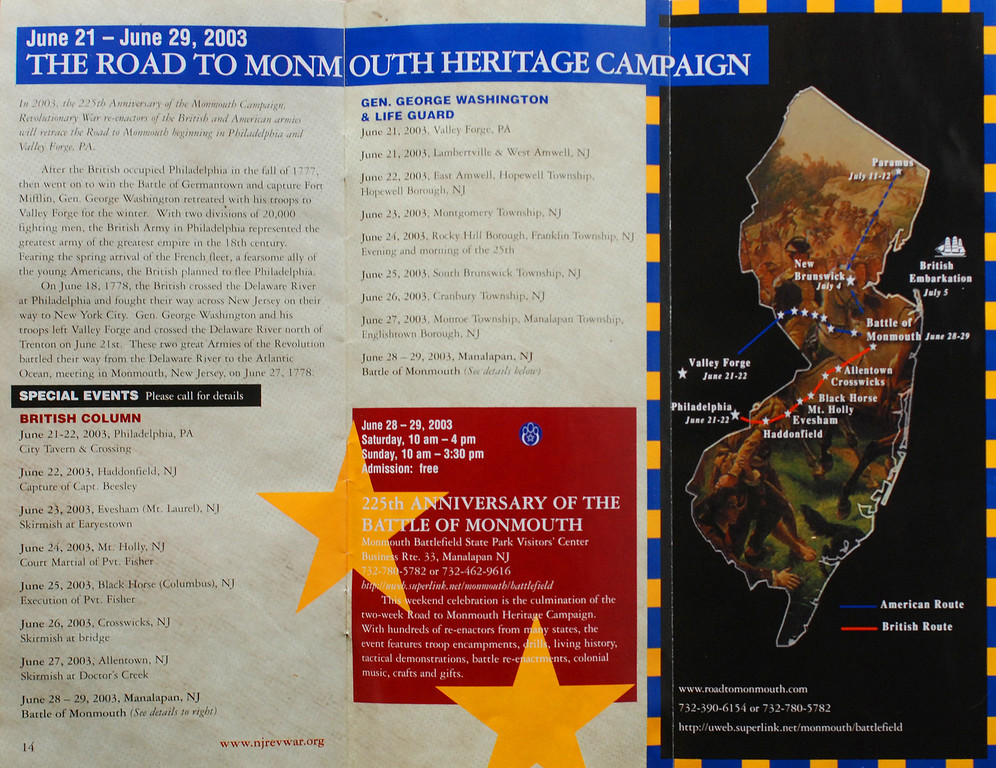 "I designed and created this map for the 2003 ""Road to Monmouth Heritage Campaign"" brochure.<br /> Inside fold out flap. <br /> Published by the 225th Anniversary of the American Revolution Celebration Commission, in collaboration with The New Jersey Historical Society"