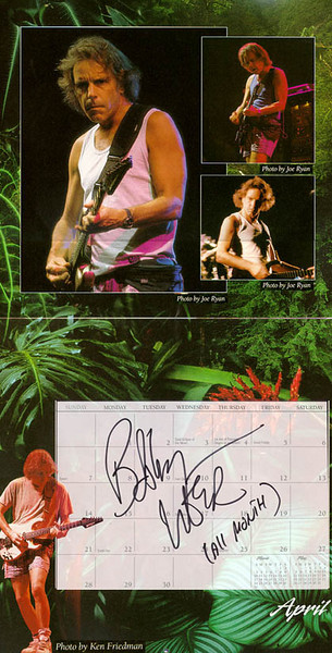 1996 official Grateful Dead calendar<br /> Top 3 photos by Joe Ryan<br /> Signed in person by Bob Weir, May 27, 2000