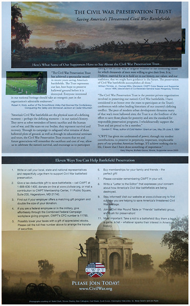 Civil War Preservation Trust mailer