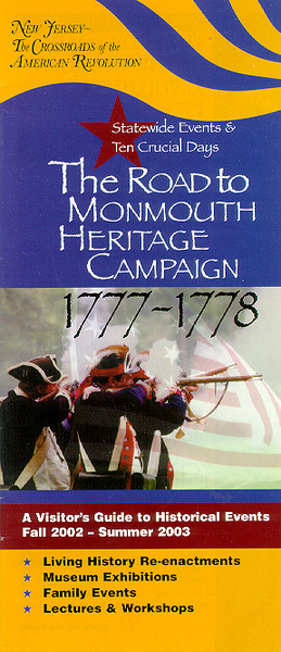 "Cover of the 2003 history brochure, ""The Road to Monmouth Heritage Campaign"".<br /> Published by the 225th Anniversary of the American Revolution Celebration Commission, in collaboration with The New Jersey Historical Society"