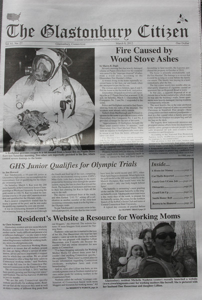 Front page of March 8th 2012 Glastonbury Citizen newspaper