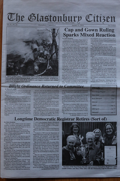 Glastonbury Citizen newspaper 1/21/16 edition front page photo
