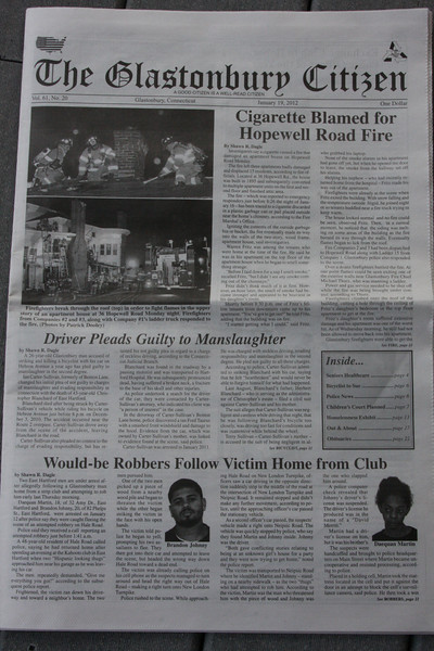 Front page of the Glastonbury Citizen newspaper 1/19/12