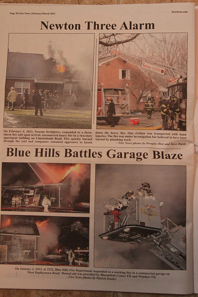 Fire News newspaper February/March 2013 issue. Bottom 3 pictures