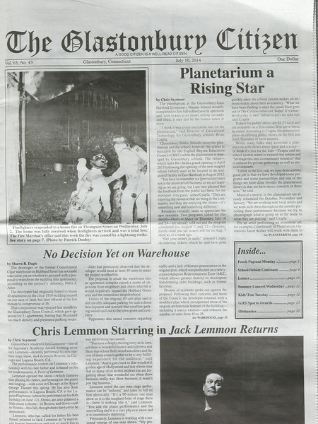 Glastonbury Citizen newspaper July 10 issue. Pictures on the cover and page 7