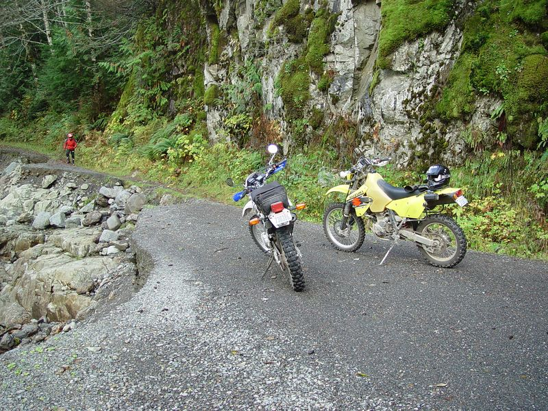 We come to the first washout on the Granite Falls end of the road.