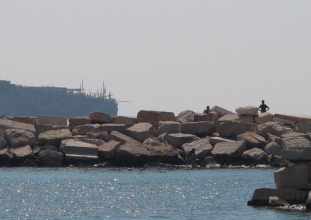 Peschici harbour scene.