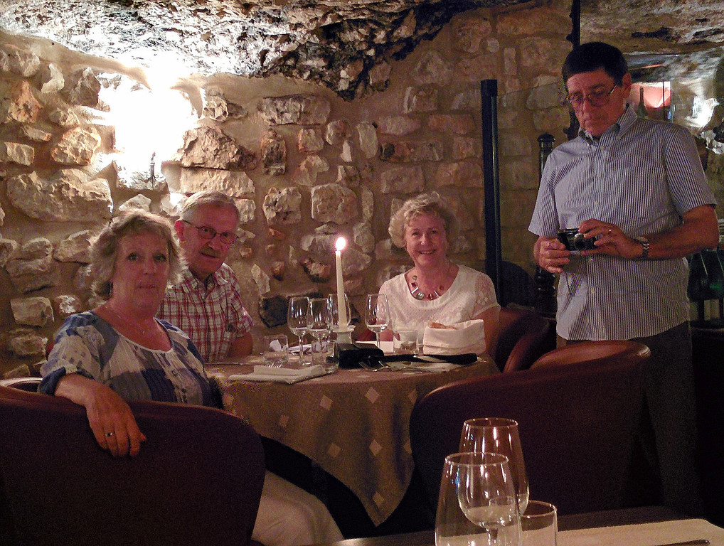 The last supper and a table of friends in the restaurant which occupies the crypt of the Vieste Duomo.