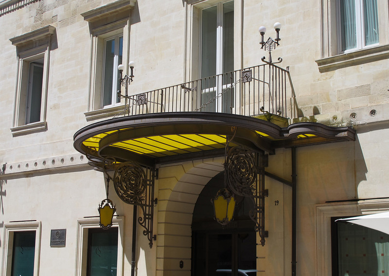 A very elaborate sun shade on a hotel in Lecce.