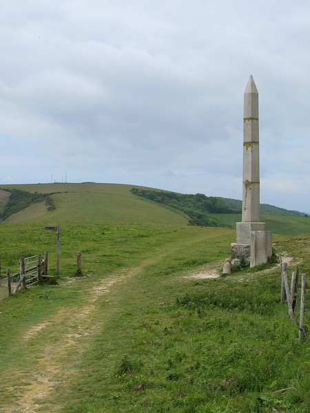 The Obelisk on Ballard Down.   Originally a gas lamp standard from the City of London,<br /> it was set up in 1892 to mark the provision of Swanage's first municipal water supply