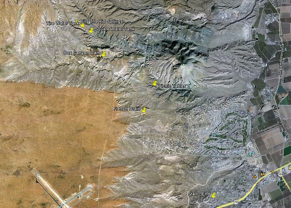 Using Google Earth, if you zoom in far enough, you can easily identity the landmarks above. Photographs were not taken at the French Drain, Picnic Tables or Square Water Tank, but those were all stops on our ride. Almost all of the photos were taken at Box Canyon Dam and Billy The Kid Spring.