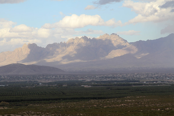 Nice view from the West mesa overlooking Las Cruces, NM wih A-Mountain on the left and Organs in the background.