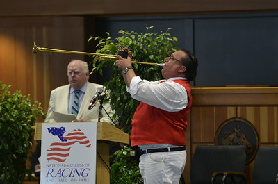J.S.Carras/The Saratogian  during annual National Museum of Racing and Hall of Fame induction ceremonies Friday, August 8, 2014 at Fasig Tipton Sales Stables in Saratoga Springs, N.Y..