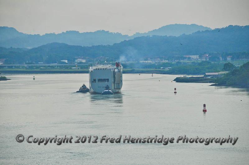Car carrier approaching the Miraflores Locks.